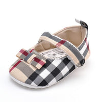 Newborn Fashion Plaid Baby Girls Kids First Walkers Infant Toddler Shoes