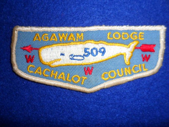 Lodge 509 Agawam F1b First Flap, Lt sewn.