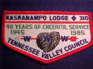 310 S9a KASKANAMPO, 40 YEARS, 1945-1985, TENNESSEE VALLEY C., CLOTH BACK
