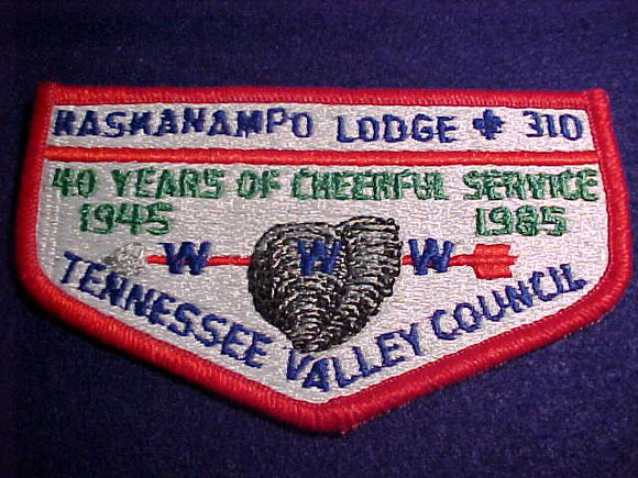 310 S9b KASKANAMPO, 40 YEARS, 1945-1985, TENNESSEE VALLEY C., PLASTIC BACK