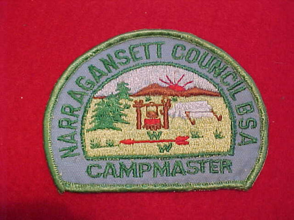 534 YX1 WINCHECK, NARRAGANSETT COUNCIL CAMPMASTER, PLASTIC BACK, USED