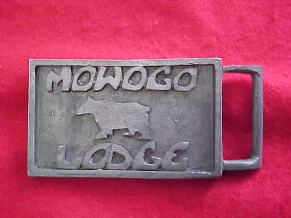 243 MOWOGO BELT BUCKLE, CAST PEWTER, HAND MADE BY THE WITCH TRAIL COMMITTEE