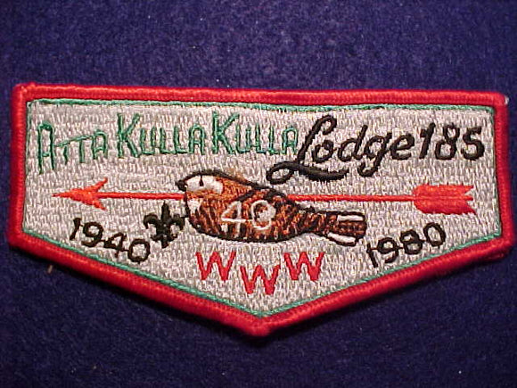 185 S9 ATTA KULLA KULLA, 40TH ANNIV., 1940-1980, RED BDR., MINT