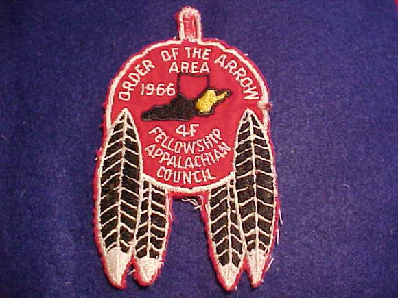 1966 PATCH, AREA 4F FELLOWSHIP, APPALACHIAN COUNCIL, USED