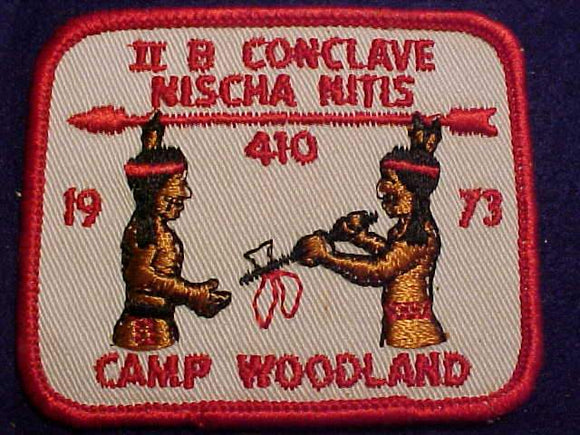1973 NE2B SECTION CONCLAVE PATCH, CAMP WOODLAND, HOST LODGE 410 NISCHA NITIS