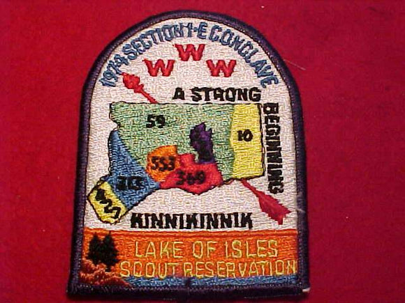 1974 NE1E SECTION CONCLAVE PATCH, LAKE OF ISLES SCOUT RESV.