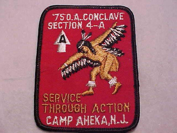 1975 NE4A SECTION CONCLAVE PATCH, CAMP AHEKA, N.J.