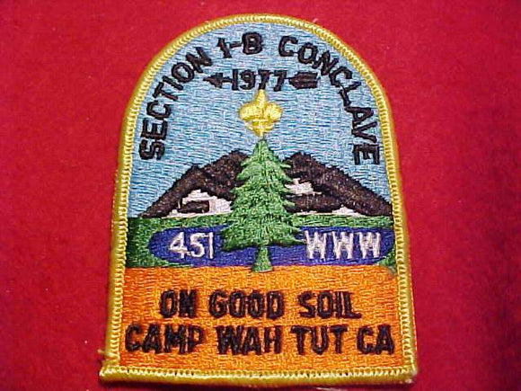 1977 NE1B SECTION CONCLAVE PATCH, CAMP WAH TUT CA