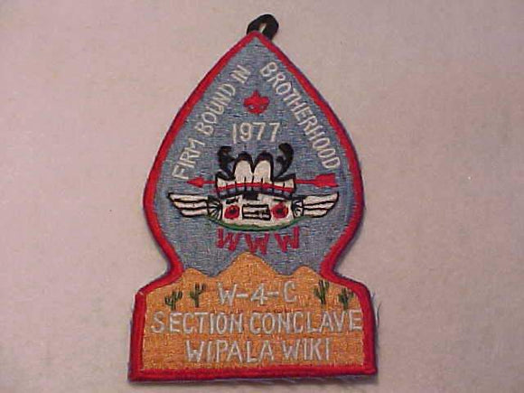 1977 W4C SECTION CONCLAVE PATCH, HOST LODGE 432 WIPALA WIKI