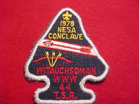 1978 NE5A SECTION CONCLAVE PATCH, LODGE 44 WITAUSHSOMAN T.S.R., NO BUTTON LOOP