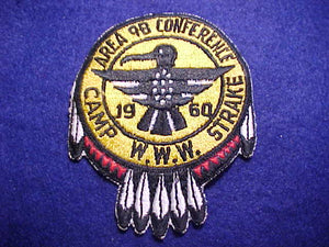 1960 PATCH, 9B AREA CONFERENCE, CAMP STRAKE