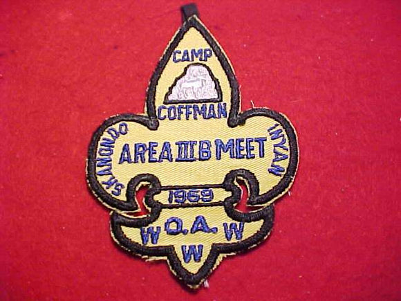 1969 PATCH, 3B AREA MEET, HOST LODGE 256 SKANONDO INYAN, CAMP COFFMAN
