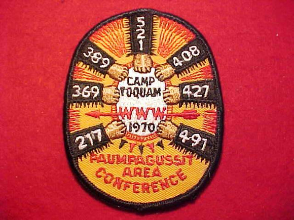 1970 PATCH, 1E AREA CONFERENCE, CAMP TOQUAM, PAUMPAGUSSIT