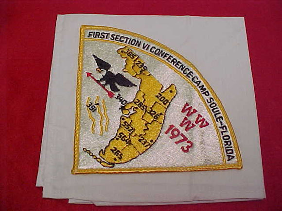 1973 SCTION SE-6 CONFERENCE NECKERCHIEF WITH PIE SHAPE PATCH,CAMP SOULE,FLORIDA