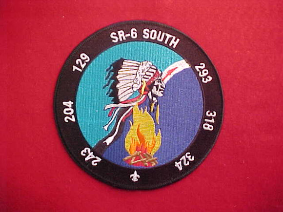 SR6S JACKET PATCH, LODGES 129,204,243,293,318,324, NO DATE, LIGHT BLUE/DARK BLUE BACKGROUND, 6