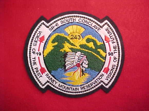 1998 SR6S CONCLAVE CHENILLE JACKET PATCH, RAINEY MOUNTAIN RESERVATION, 6.75X5.75