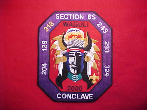 2000 SR6S CONCLAVE JACKET PATCH, HOST LODGE 318 WAGULI, 6.5X8