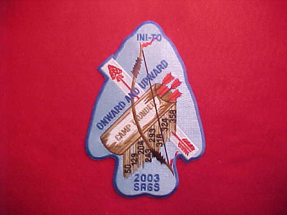 2003 SR6S SECTION JACKET PATCH, CAMP THUNDER, HOST LODGE 324 INI-TO, 5.25X8