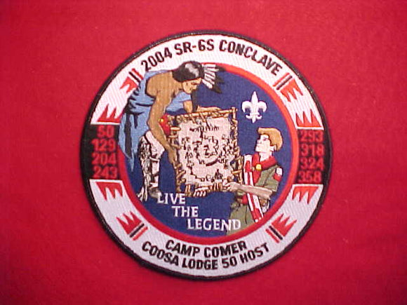 2004 SR6S CONCLAVE JACKET PATCH, CAMP COMER, HOST LODGE 50 COOSA, 6