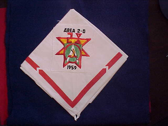 1959 AREA 2D CONCLAVE NECKERCHIEF, HOST LODGE 28 HALF MOON