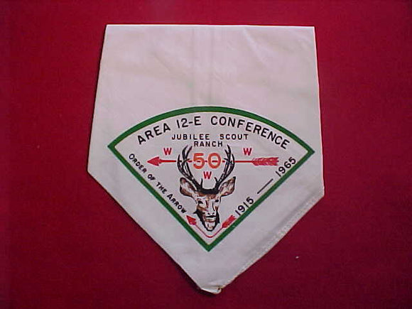 1965 AREA 12E CONFERENCE NECKERCHIEF, JUBILEE SCOUT RANCH, MINT
