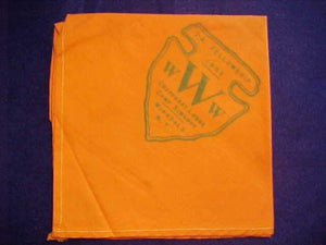 1953 NECKERCHIEF, AREA 2A FELLOWSHIP, HOST LODGE CHAPPEGAT 15, CAMP SIWANOY, WINGDALE, NY, VERY RARE, USED-VERY GOOD COND.