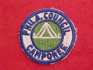1940'S PHILADELPHIA COUNCIL CAMPOREE, WHITE TWILL-BLUE BDR., UNDATED, MINT