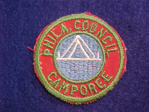 1940'S PHILADELPHIA COUNCIL CAMPOREE, RED TWILL-GREEN BDR., UNDATED