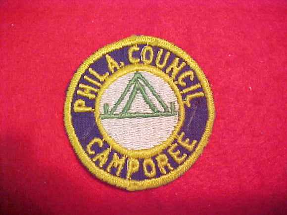 1940'S PHILADELPHIA COUNCIL CAMPOREE, NAVY TWILL-YELLOW BDR.