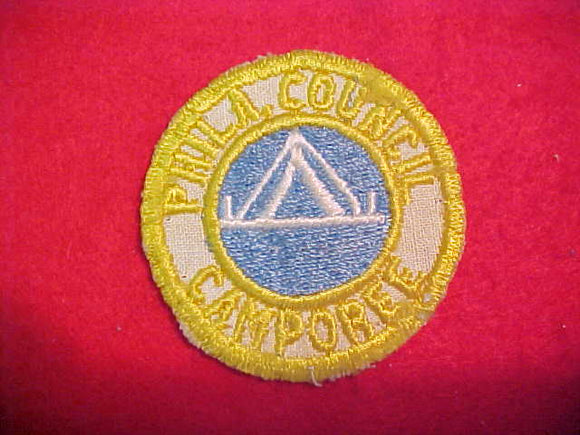 1940'S PHILADELPHIA COUNCIL CAMPOREE, BEIGE TWILL-YELLOW BDR.