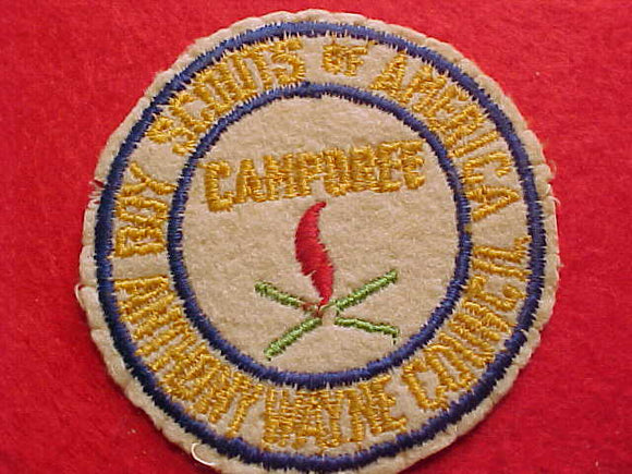 1940'S, ANTHONY WAYNE COUNCIL CAMPOREE, EMBROIDERED ON FELT