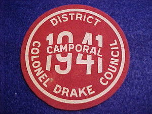 1941 COLONEL DRAKE C. COMPOSITE PATCH, CAMPORAL, MINT