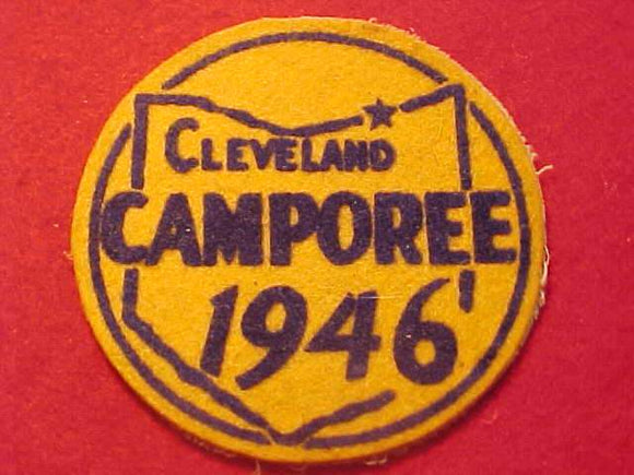 1946 PATCH, CLEVELAND CAMPOREE, FLOCKED ON FELT