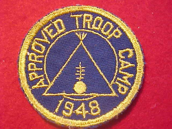 1948 PATCH, APPROVED TROOP CAMP, USED IN CLEVELAND, OHIO