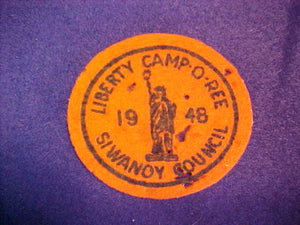 1948 SIWANOY COUNCIL,LIBERTY CAMPOREE,USED,MOTH BITES