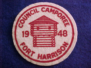 1948, FORT HARRISON COUNCIL CAMPOREE, FELT, MINT COND.