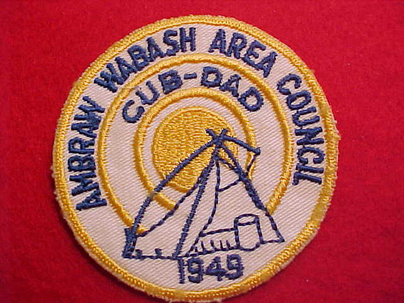 1949 ACTIVITY PATCH, AMBRAW WABASH A. C., CUB DAD