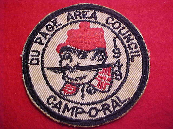 1949 ACTIVITY PATCH, DU PAGE A. C. CAMP-O-RAL, USED