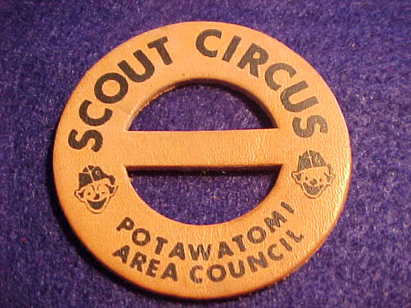 1950'S N/C SLIDE, POTAWATOMI A. C., SCOUT CIRCUS, LEATHER, BLACK LETTERS