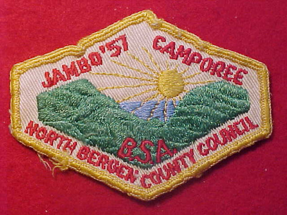 1957 PATCH, NORTH BERGEN COUNTY COUNCIL CAMPOREE, USED