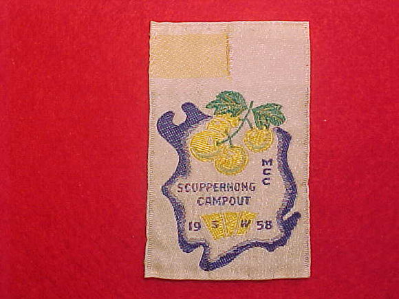 1958 MILWAUKEE COUNTY COUNCIL, SCUPPERNONG CAMPOUT, WOVEN