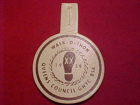 1959 PATCH, QUEENS COUNCIL WALK-O-THON, COMPOSITE MATERIAL