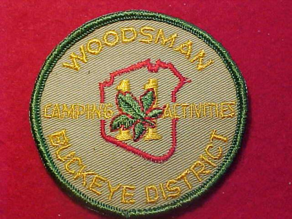 1960'S PATCH, BUCKEYE DISTRICT WOODSMAN, CAMPING ACTIVITIES