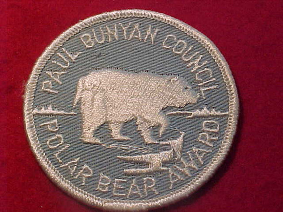 1960'S PATCH, PAUL BUNYAN C. POLAR BEAR AWARD, ROLLED EDGE