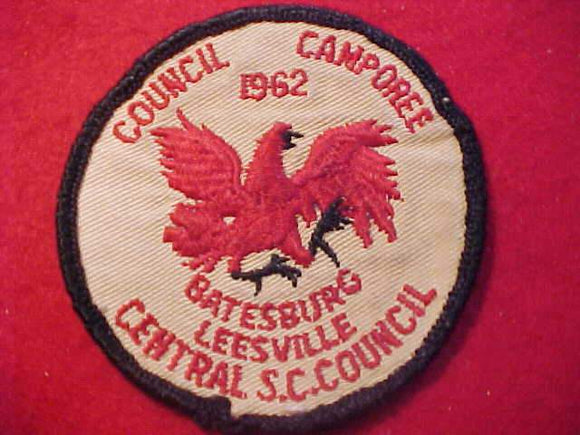 1962 PATCH, CENTRAL S. C. COUNCIL CAMPOREE, USED