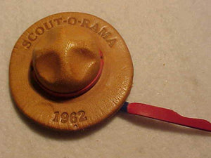 1962 N/C SLIDE, SCOUT-O-RAMA, HAT SHAPE, LEATHER