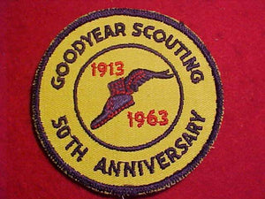 1963 PATCH, GOODYEAR SCOUTING 50TH ANNIV.