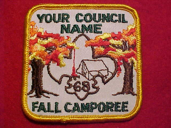 1968 PATCH, YOUR COUNCIL NAME FALL CAMPOREE, NATIONAL SAMPLE