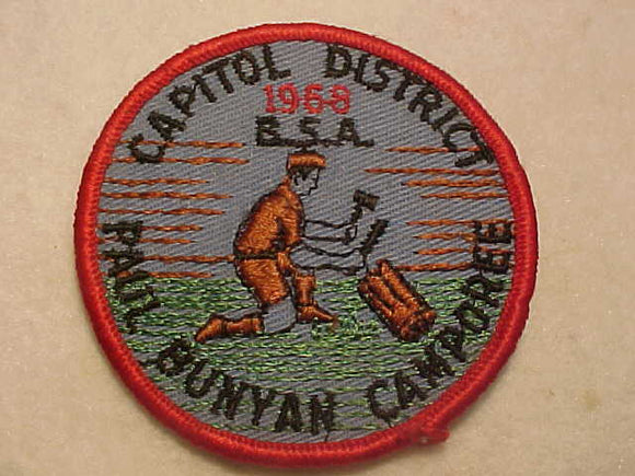 1968 PATCH, CAPITOL DISTRICT, PAUL BUNYAN CAMPOREE