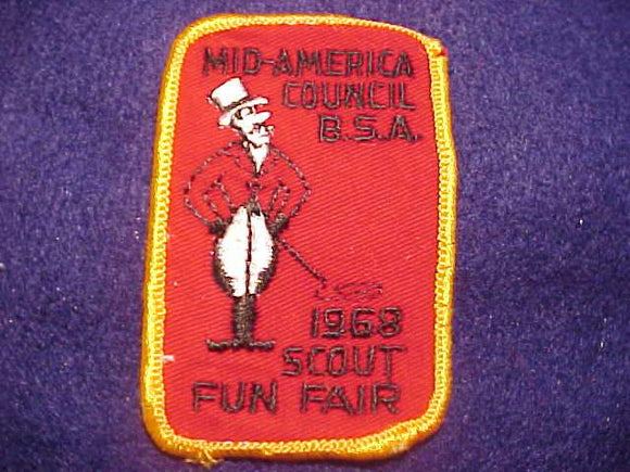 1968 PATCH, MID-AMERICA COUNCIL SCOUT FUN FAIR, USED